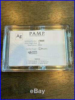Box 10 PAMP Suisse Lady Fortuna 10 oz Bars. 999 Silver 100ozs COA Low Serial #s