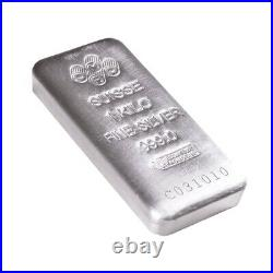 Box of 15 1 Kilo PAMP Suisse Silver Cast Bar. 999 Fine (withAssay)