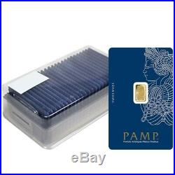 Box of 25 1 gram Gold Bar PAMP Suisse Lady Fortuna Veriscan. 9999 Fine Assay