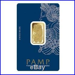 Box of 25 10 gram Gold Bar PAMP Suisse Lady Fortuna Veriscan. 9999 Fine In
