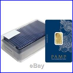 Box of 25 5 gram Gold Bar PAMP Suisse Lady Fortuna Veriscan (In Assay)