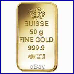 Box of 25 50 gram Gold Bar PAMP Suisse Lady Fortuna Veriscan. 9999 Fine In