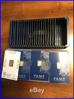 Box of 25 PAMP Suisse 1 Gram. 9999 Gold Bars Fortuna Sealed in Assay Card