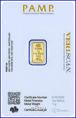 Box of 25 PAMP Suisse 1 Gram. 9999 Gold Bars Fortuna with Assay DELAY SKU27318