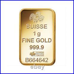 Box of 25 PAMP Suisse Fortuna 1 gram. 999 Fine Gold Bar SEALED IN VERISCAN
