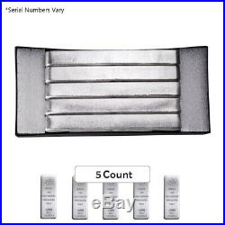 Box of 5 100 oz PAMP Suisse Silver Cast Bar. 999 Fine (withAssay)