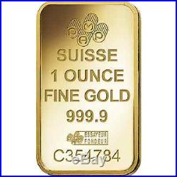 Fifty (50) 1 oz PAMP Suisse Gold bars new in assay cards FREE shipping