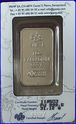 Fortuna 1 oz PAMP Suisse Palladium Bar. 9995 Fine