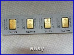 Four/ one gram PAMP SUISSE gold bar. 999.9 pure gold in assay card