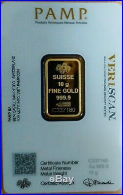 Gold Bullion PAMP 10gm Bar 999