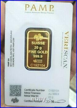 Gold Bullion PAMP 20.0gm Bar 999