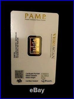 Gold Oro 2.5 gram pamp suisse Fine gold bar 999.9 With Veriscan/Assayed Cert