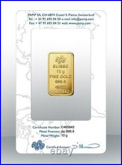 Gold bullion Pamp 10g minted bar Sealed + Certificate