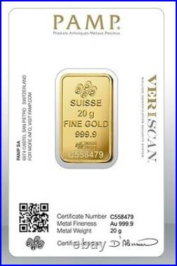 Gold bullion Pamp 20g minted bar Sealed + Certificate