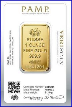 Gold bullion Pamp 31.1g 1Oz minted bar Sealed + Certificate