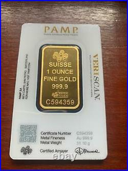 Gold bullion Pamp 31.1g 1Oz minted bar Sealed + Certificate