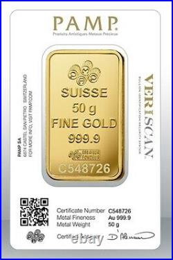 Gold bullion Pamp 50g minted bar Sealed + Certificate