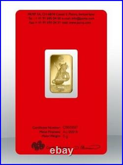 Gold bullion Pamp 5g minted bar Sealed + Certificate