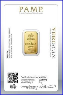 Gold bullion Pamp 5g minted bar Sealed + Certificate