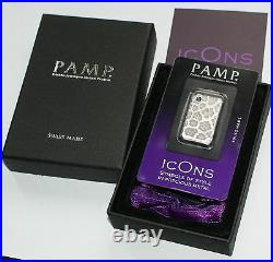 IcOns SKINS Stylish Silver Bar Leopard with hanger SUISSE-PAMP