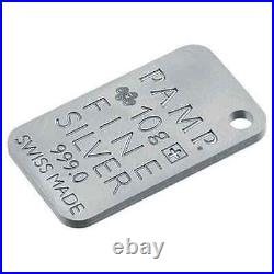 IcOns SKINS Stylish Silver Bar ZEBRA with hanger SUISSE-PAMP