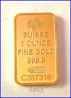 In Stock-1 Ounce Pamp Suisse Lady Fortuna 999.9 Fine Gold Bar. Ships A. S. A. P