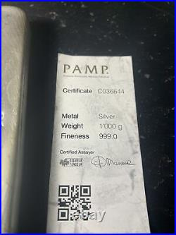 Kilo Pamp Suisse Silver Bar. 999 Fine With Assay Card