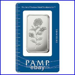 L@@K PAMP 100g Silver ROSA Bar RARE Minted PREPPER Survival Investment