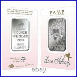 L@@K PAMP 1oz Silver VALENTINES SPECIAL EDITION LOVE INGOT Bar