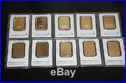 Lot Of 6 3 Pamp Suisse 3 Credit Suisse 1 Oz. Fine. 999 Gold Bars! Assay Card