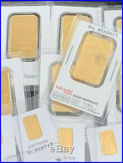 Lot Of 7 Credit Suisse 1 Oz. 999 Gold Bars & 10 Credit Suisse 2 Gram Gold Bars