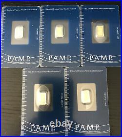 Lot Of Five (5) 1gram Gold Bars PAMP Suisse Fortuna 999.9 Fine in Assay