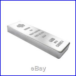 Lot of 10 100 oz PAMP Suisse Silver Cast Bar. 999 Fine (withAssay)