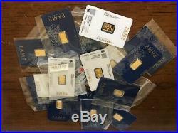 Lot of 10 2.5 gram Gold Bar PAMP Suisse Fortuna 999.9 Fine in Sealed Assay