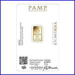 Lot of 10 2.5 gram Gold Bar PAMP Suisse Lady Fortuna Veriscan (In Assay)