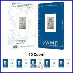 Lot of 10 5 Gram Platinum Bar PAMP Suisse Rosa. 9995 Fine (In Assay)