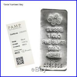 Lot of 2 1 Kilo PAMP Suisse Silver Cast Bar. 999 Fine (withAssay)
