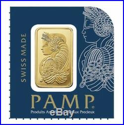 Lot of 2 1 gram Gold Bar PAMP Suisse Lady Fortuna. 9999 Fine In Assay New