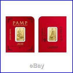 Lot of 2 1 gram Gold Bar PAMP Suisse Lunar Mouse / Rat In Assay, Multigram+8