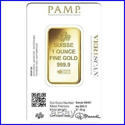 Lot of 2 1 oz Gold Bar PAMP Suisse Lady Fortuna Veriscan. 9999 Fine (In Assay)