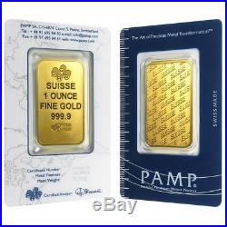 Lot of 2 1 oz Gold Bar PAMP Suisse New Design (In Assay)