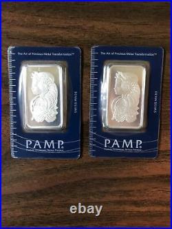 Lot of 2 1 oz. PAMP Lady Fortuna Silver Bar