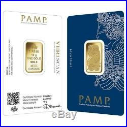 Lot of 2 10 gram Gold Bar PAMP Suisse Lady Fortuna Veriscan (In Assay)