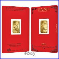 Lot of 2 5 gram PAMP Suisse Year of the Ox Gold Bar (In Assay)