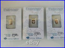 (Lot of 3) 3 × 1g Pamp Suisse Platinum Bar Total 3g 999.5 Pure (In Assay)