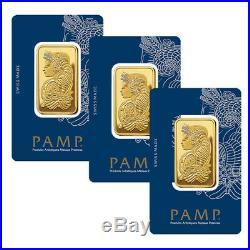 Lot of 3 Gold 1 oz PAMP Gold Suisse Lady Fortuna. 9999 Fine Sealed Bars