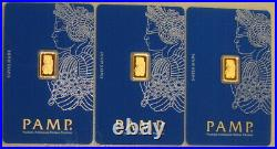 Lot of (3) Pamp Suisse 1 Gram. 9999 Fine Gold Fortuna Bullion Bars