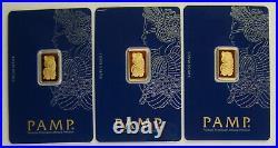 Lot of (3) Pamp Suisse 2.5 Gram. 9999 Fine Gold Fortuna Bullion Bars
