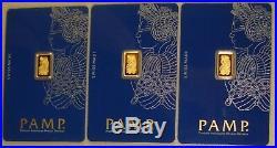 Lot of (3) Pamp Suisse. 9999 Fine 1 Gram Gold Bullion Bars