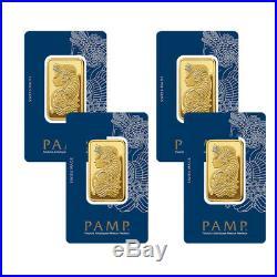 Lot of 4 Gold 1 oz PAMP Gold Suisse Lady Fortuna. 9999 Fine Sealed Bars
